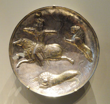 Hunting King Plate, 303 – 309 AD, Sasanian, Iran, Silver and Gilt, Cleveland Museum of Art https://upload.wikimedia.org/wikipedia/commons/b/b6/Hunting_King_Plate%2C_303-309_AD%2C_Sasanian%2C_Iran%2C_silver_and_gilt_-_Cleveland_Museum_of_Art_-_DSC08117.JPG