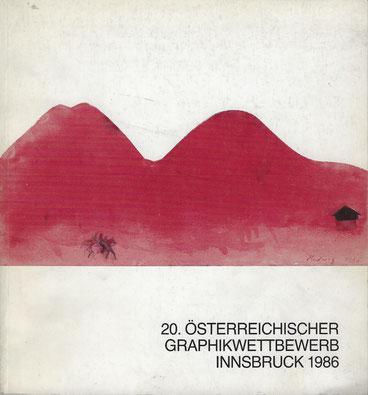 """Katalog Cover, 20. Österreichischer Graphikwettbewerb, 1986, """"Michael Hedwig, Die Reiter, 1986, Aquarell, 237 x 279 mm"""