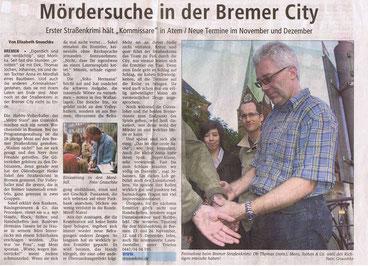 """Zeitungsartikel der Kreiszeitung Syke vom 01.11.2007: """"Mördersuche in der Bremer City""""- Quelle: Kreiszeitung Syke"""