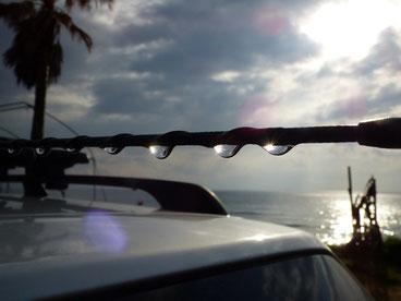 車のアンテナに付いた雨のしずく、レジンドロップみたいでした。