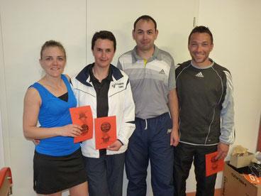 De gauche à droite : Elise Wurgler (15/2), Fred Schell (15/1), David Jeaugey (15/2), Christophe Barsus (15)