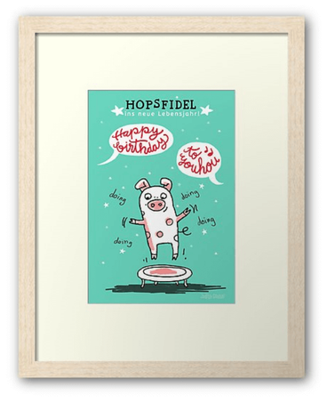 Trampolin Schwein - Hopsfildel glücklich - Text und Illustration Judith Ganter - erhältlich bei Redbubble