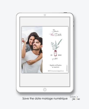 Save the date mariage numérique-Save the date mariage digital-Save the date numérique-pdf numérique-Save the date mariage electronique -Save the date à envoyer par mms-par mail-réseaux sociaux-whatsapp-facebook-messenger-vase-vegetal-bouquet bonheur-chic
