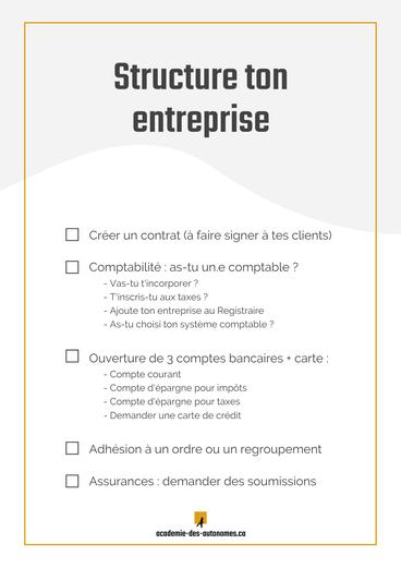 Structure ton entreprise check-list article de blogue Académie des Autonomes soutien aux travailleurs autonomes francophones du Québec