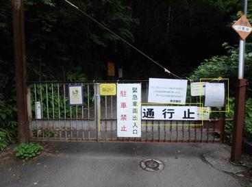 川乗橋バス停近くの林道入口