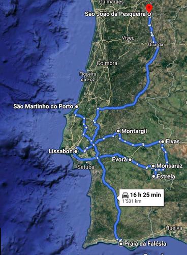 Gefahrene Strecke 2. Teil. Quelle: Google Maps