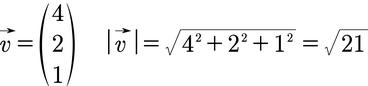 Beispiel für die Berechnung der Länge eines Vektors mithilfe des Betrags im 3D Raum