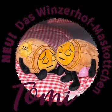 Kuschel-Schlaffass, Winzerhof, Maskottchen, Küssler, Tomi