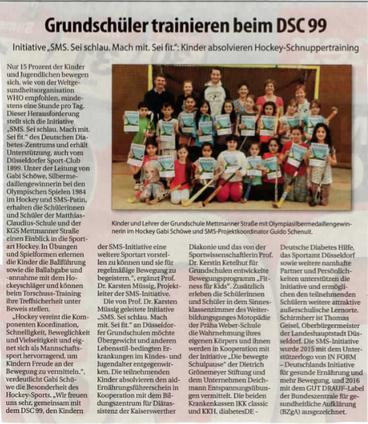 Der Rheinbote berichtete in seiner Ausgabe vom 30. März über den Trainingstag der Grundschule Mettmanner Straße im DSC 99.
