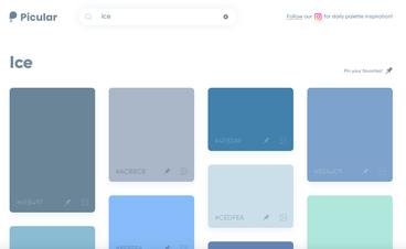 Bildschirmfoto von Picular, verschiedenen Blau- und Grüntone zum Stichwort Eis
