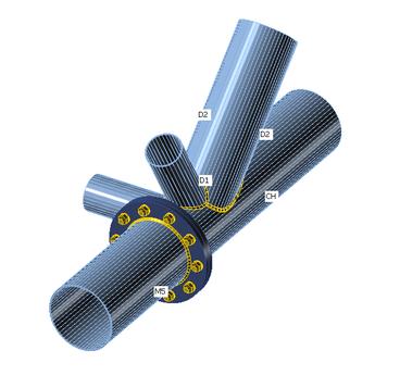 Räumlicher Rohrknoten mit Stoß