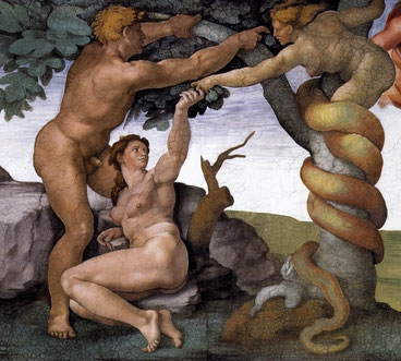 Michelangelo: The fall of man and the expulsion from the garden of eden