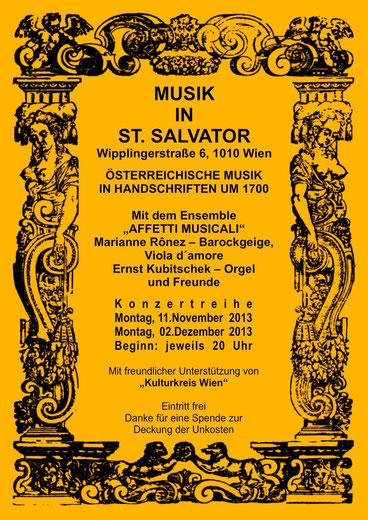 Kulturkreis Wien Affetti Musicali Ronez Marianne Kubitschek Ernst Orgel Viola D amore,  St. Salvator Kirche Günther Wachtl