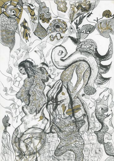Feeding the dogs, Tusche auf Papier, 42 x 30 cm, 2007