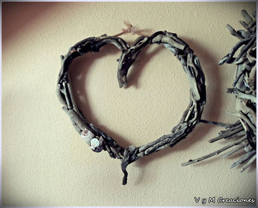 drifwood art, driftwood heart, corazón madera, vymcreaciones, madera de mar, madera deriva, eco desing
