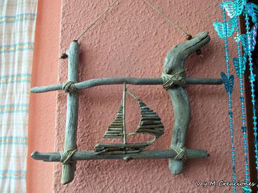 barco velero, artesanía madera, madera de mar, vymcreaciones, madera deriva, madera playa, decoración ecológica