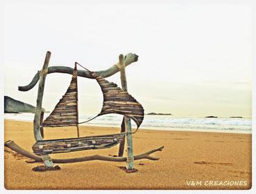 cuadro barco, cuadro madera, madera de mar, velero madera, madera deriva, vymcreaciones