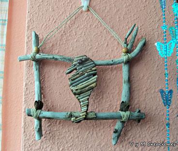 caballito de mar, madera de mar, madera deriva, decoración ecológica, cuadro madera, driftwood art, vymcreaciones