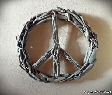 símbolo paz, madera de mar, cuadro símbolo de la paz, madera deriva, driftwood art, driftwood, decoración hippie