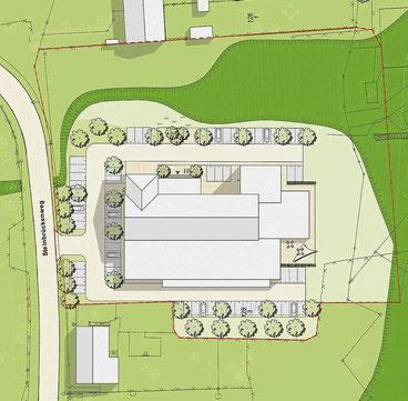 Die rot umrandete Fläche ist jene, die Hartung & Ludwig auf dem EOW-Gelände  erwerben wollen. Die Darstellung zeigt einen möglichen Zustand nach den Maßnahmen.