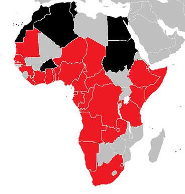 Coronavirus in Africa al 20.3.2020. Rosso: Paesi colpiti da COVID-19. Nero: Paesi che hanno registrato anche morti.
