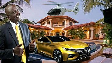 Auto superlusso, cinque elicotteri personali, tre hotel prestigiosi e varie altre proprietà immobiliari, cui ora si aggiunge il colosso mediatico, costituiscono il rilevante patrimonio del vicepresidente del Kenya