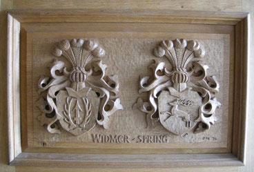 Widmer Wappen Spring Wappen Haustür Schnitzerei