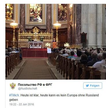 Screenshot: @ RusBotschaft - Russische Botschaft - Gedenkveranstaltung im Berliner Dom 22.Juni 2016