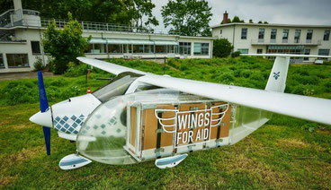 Unmanned small aircraft operated by Wings for Aid for delivery of relief goods  -  credit: Wings For Aid