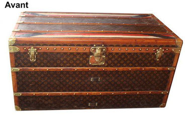 Redrose mail trunk badly restored louis vuitton chip
