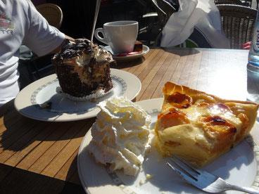 Café e torta e parte de pedalar na Floresta Negra