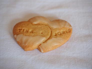 Kekse mit Namen für die Hochzeit