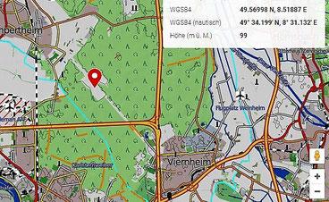 Lage der Viernheimer Heide südl. von Lampertheim - Kartenausschnitt Google Maps verändert