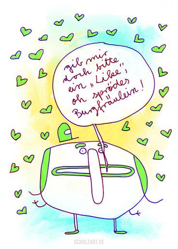 Zeichnung eines kleines Mannes und vieler Herzen, auf der Suche nach Likes, von Frank Schulz Berlin