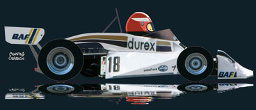 Rupert Keegan by Muneta & Cerracín - Rupert Keegan del Durex Team Surtees con un Surtees TS19 Ford Cosworth V8