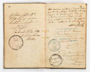 Wanderbuch des Uhrmachergesellen Georg Bilharz von 1849 bis 1851, Kenzingen im Großherzogtum Baden, Seite 12-13