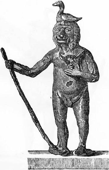 """Eines der """"Prillwitzer Idole"""" (Darstellung des Radegast). Aus: """"Die gottesdienstlichen Alterthümer der Obotriten"""" (1771)"""