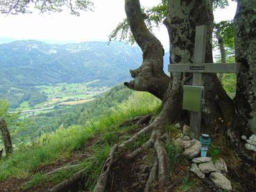 Kienberg Gipfelkreuz - im Hintergrund ist die Kremsmauer zu sehen