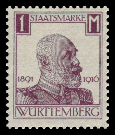 Briefmarke aus Anlass des 25jährigen Thronjubiläums Wilhelms II. von Württemberg 1916