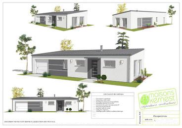 maison moderne de plain pied avec bac acier isolant et enduit bicolore blanc et gris