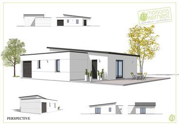 maison moderne à toit terrasse et toit monopente avec un enduit blanc