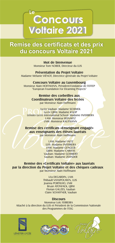 Dépliant Cérémonie Concours Voltaire 2021