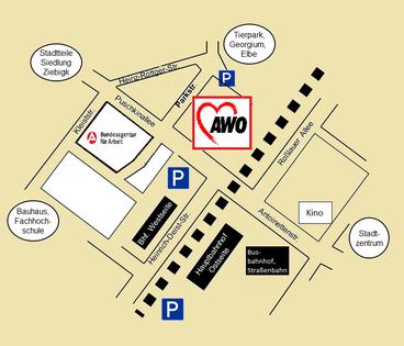 Suchtberatung des AWO Kreisverband Dessau-Roßlau e.V.  Anfahrt Adresse Lageplan