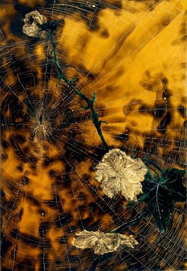 「ヘチマとクモ」ガラス絵・金箔 485x340mm