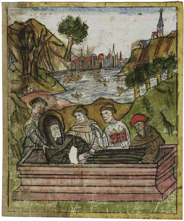 Einsargung Otmars auf der Insel Werd - Stiftsbibliothek St. Gallen