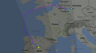 Routing for this day - Source: Flightradar24