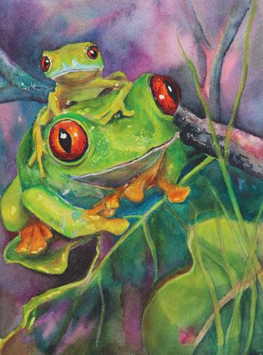 Aquarellbild, Frosch, gegenständliche Malerei,zwei Frösche im Geäst