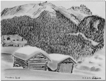 Kohlezeichnung von Klosters Dorf mit Casanna im Hintergrund.