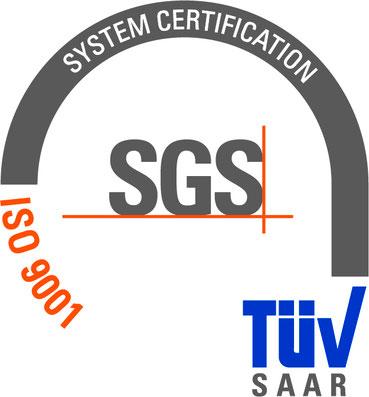 Bild: Logo TÜV SAAR System Certification ISO 9001