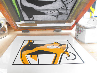 A Lucy Gell Screen print shown at a printmaking workshop